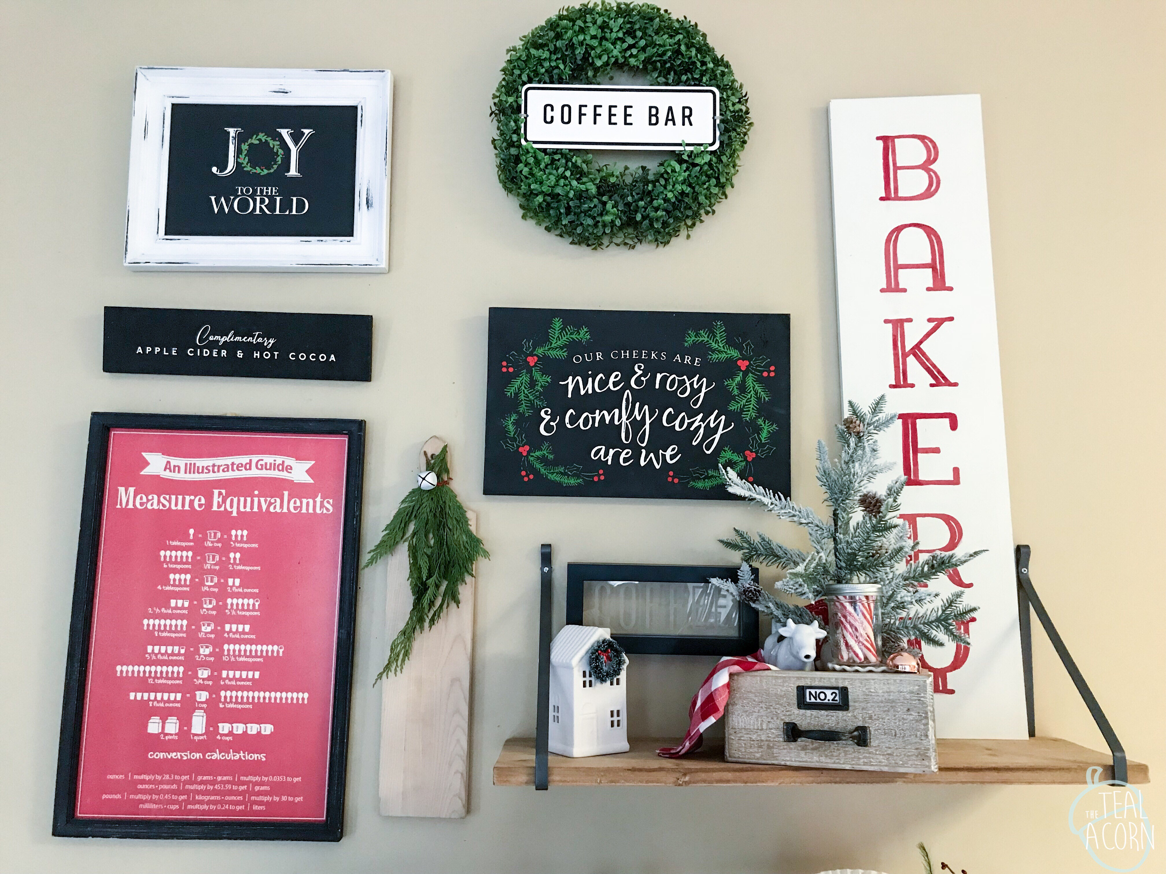 Christmas Gallery wall with Chalk Couture Joy to the world, bakery, vintage truck complimentary cocoa and cider, our cheeks are nice and rosy and comfy cozy are we transfers.