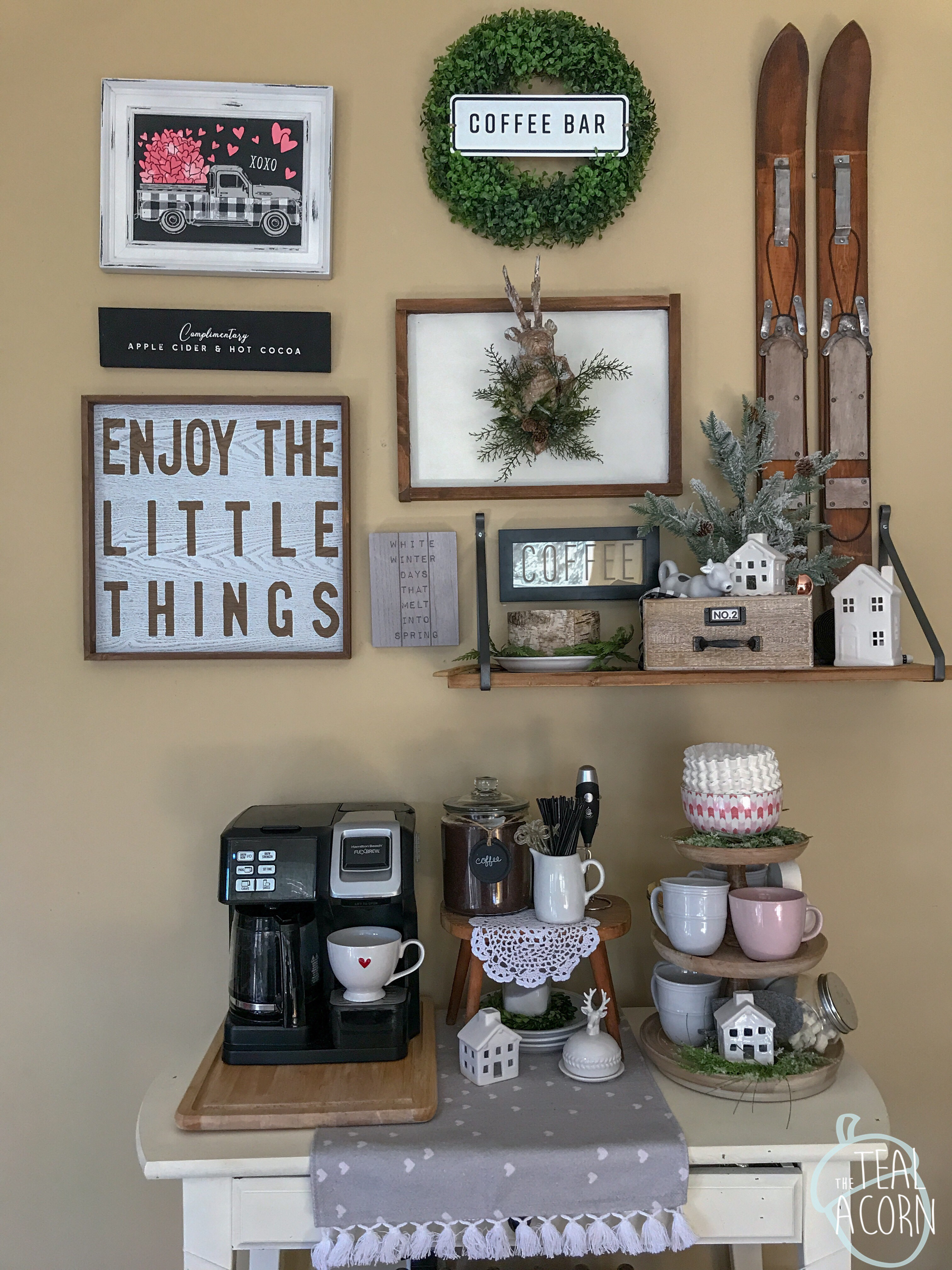 Valentine's Day Decor themed gallery wall above a coffee bar. Valentine's Day decor is pale grey and blush pink.