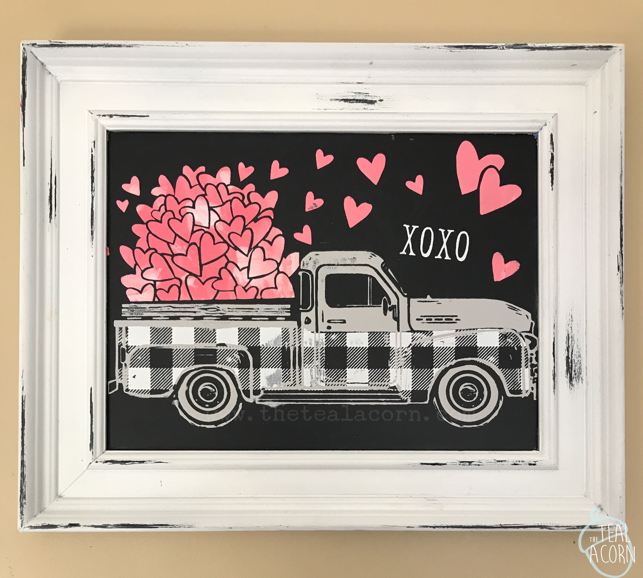 chalk couture Aiden chalkboard with vintage truck design. The winter and spring add on was used as well as fresh linen, white, and coral chalk paste.